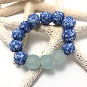 Handmade Sea Glass Chinoiserie Stretchy Bracelet